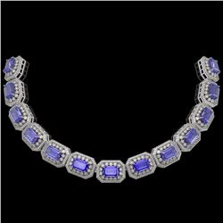 112.65 ctw Tanzanite & Diamond Victorian Necklace 14K White Gold