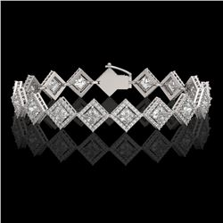 11.7 ctw Princess Cut Diamond Micro Pave Bracelet 18K White Gold