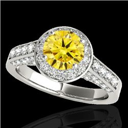 2.56 ctw Certified SI/I Fancy Intense Yellow Diamond Ring 10k White Gold