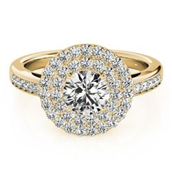 1.6 ctw Certified VS/SI Diamond Halo Ring 18k Yellow Gold