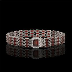 21.51 ctw Garnet & Diamond Bracelet 14K White Gold