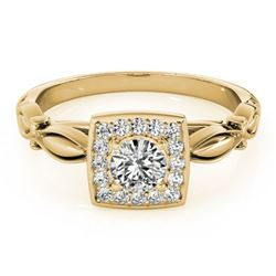 0.55 ctw Certified VS/SI Diamond Halo Ring 18k Yellow Gold