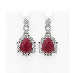 23.25 ctw Ruby & Diamond Earrings 18K White Gold