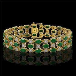 17.74 ctw Emerald & Diamond Row Bracelet 10K Yellow Gold