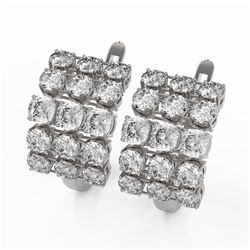 6.3 ctw Cushion Cut Diamond Designer Earrings 18K White Gold