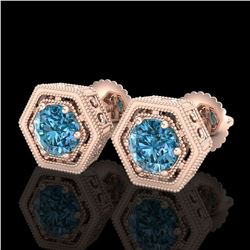 1.07 ctw Fancy Intense Blue Diamond Art Deco Earrings 18k Rose Gold