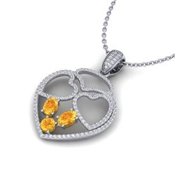 3 ctw Citrine & Micro Pave Designer Heart Necklace 14k White Gold