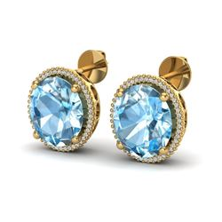 25 ctw Sky Blue Topaz & Micro VS/SI Diamond Earrings 18k Yellow Gold