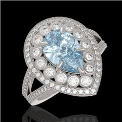 3.82 ctw Certified Aquamarine & Diamond Victorian Ring 14K White Gold