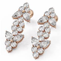 4 ctw Pear Diamond Designer Earrings 18K Rose Gold