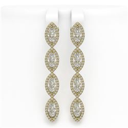6.08 ctw Marquise Cut Diamond Micro Pave Earrings 18K Yellow Gold