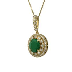 8.66 ctw Certified Emerald & Diamond Victorian Necklace 14K Yellow Gold
