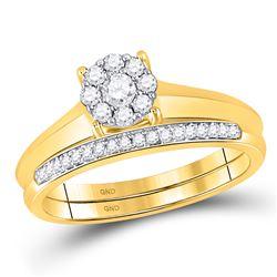 10kt Yellow Gold Womens Round Diamond Bridal Wedding Engagement Ring Band Set 1/3 Cttw