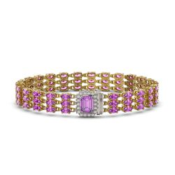 20.93 ctw Amethyst & Diamond Bracelet 14K Yellow Gold