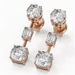 3.5 ctw Cushion Cut Diamond Designer Earrings 18K Rose Gold