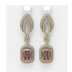 12.66 ctw Morganite & Diamond Earrings 18K Yellow Gold
