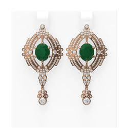 11.24 ctw Emerald & Diamond Earrings 18K Rose Gold