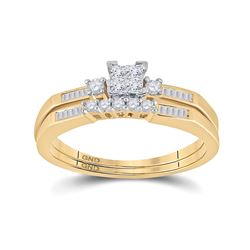 10kt Yellow Gold Womens Princess Diamond Bridal Wedding Engagement Ring Set 1/3 Cttw