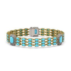 20.55 ctw Turquoise & Diamond Bracelet 14K Yellow Gold