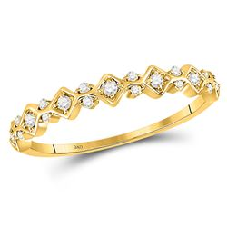 10kt Yellow Gold Womens Round Diamond Stackable Band Ring 1/6 Cttw