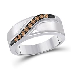 Sterling Silver Mens Round Brown Diamond Wedding Band Ring 1/4 Cttw