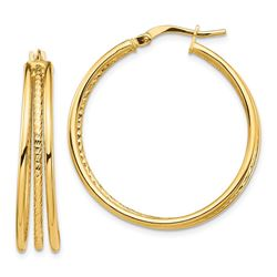 14k Yellow Gold Polished & Textured 3 Hoop Earrings - 32 mm