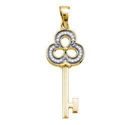 Yellow-tone Sterling Silver Womens Round Diamond Trefoil Key Pendant 1/12 Cttw