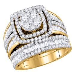 14kt Yellow Gold Womens Round Diamond Bridal Wedding Engagement Ring Band Set 2-1/2 Cttw