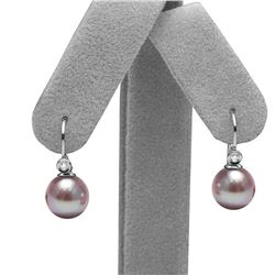 Elite Collection Lavender Freshwater Pearl Diamond Shepherd Dangle Earrings