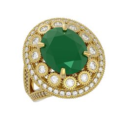 8.76 ctw Certified Emerald & Diamond Victorian Ring 14K Yellow Gold