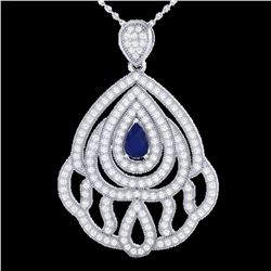 2 ctw Sapphire & Micro Pave VS/SI Diamond Necklace 18k White Gold