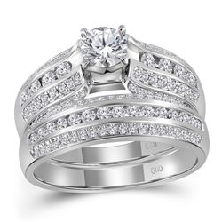 14kt White Gold Womens Round Diamond Bridal Wedding Engagement Ring Band Set 1-1/4 Cttw