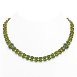 37.23 ctw Tourmaline & Diamond Necklace 14K Yellow Gold