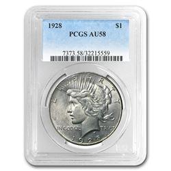 1928 Peace Dollar AU-58 PCGS
