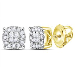 14kt Yellow Gold Womens Princess Round Diamond Cluster Earrings 1/4 Cttw