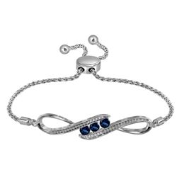 Sterling Silver Womens Round Lab-Created Blue Sapphire Bolo Bracelet 1/2 Cttw