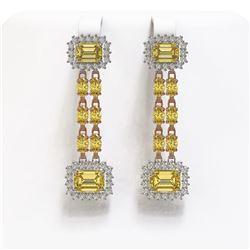 10.46 ctw Citrine & Diamond Earrings 14K Rose Gold
