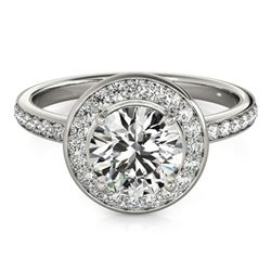 1.65 ctw Certified VS/SI Diamond Solitaire Halo Ring 14k White Gold
