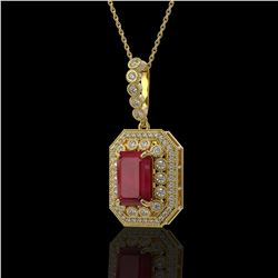7.18 ctw Certified Ruby & Diamond Victorian Necklace 14K Yellow Gold