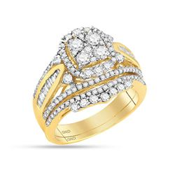 14kt Yellow Gold Womens Round Diamond Bridal Wedding Engagement Ring Band Set 1-5/8 Cttw