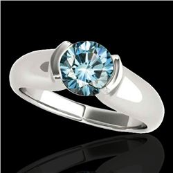 1 ctw SI Certified Fancy Blue Diamond Solitaire Ring 10k White Gold