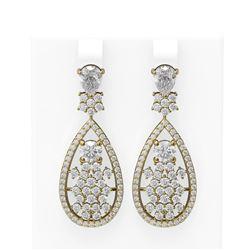6.1 ctw Diamond Earrings 18K Yellow Gold