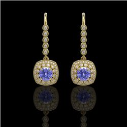 5.2 ctw Certified Tanzanite & Diamond Victorian Earrings 14K Yellow Gold
