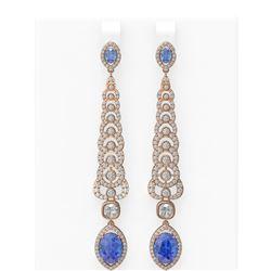 8.64 ctw Tanzanite & Diamond Earrings 18K Rose Gold