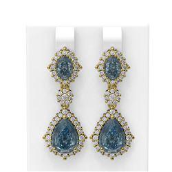 8.54 ctw Blue Topaz & Diamond Earrings 18K Yellow Gold