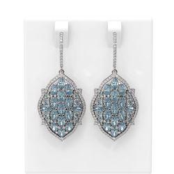 11.38 ctw Aquamarine & Diamond Earrings 18K White Gold