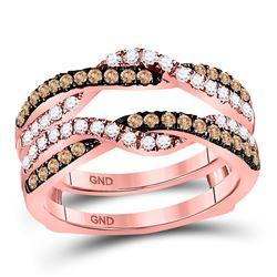 14kt Rose Gold Womens Round Brown Diamond Solitaire Enhancer Wedding Band 1/2 Cttw