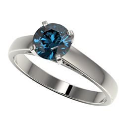 1.28 ctw Certified Intense Blue Diamond Engagment Ring 10k White Gold