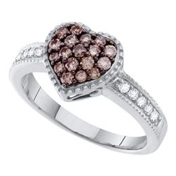 14kt White Gold Womens Round Brown Diamond Heart Cluster Ring 1/2 Cttw