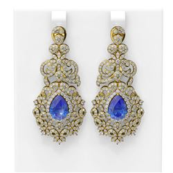 12.62 ctw Tanzanite & Diamond Earrings 18K Yellow Gold